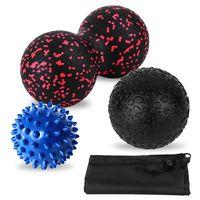 Massagekugeln Set Doppel Erdnusskugel Stachelige Kugel Faszienkugel Gewebebehandlung Muskeltherapiekugeln Set