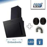 PROKIRA® DH60GB-02 kopffreie Wandhaube Schräghaube Abluft Umluft Dunstabzugshaube Schwarz 60 cm LED Glas 350 m³