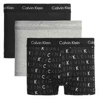 Calvin Klein Herren Boxershorts Baumwolle Stretch Low Rise 3er Pack Schwarz / Grau L