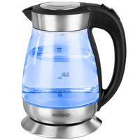 Monzana Wasserkocher 1,7 L Teekocher LED Glas Edelstahl 2200 W Überhitzungsschutz Kalkfilter 360 Grad Basis BPA frei