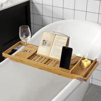 SoBuy® Badewannenablage aus Bambus,Badewannenbrett,Badewannenauflage,FRG207-N