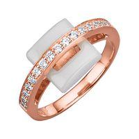 Jacques Lemans Ring 925/- Sterling Silber rot 056 (17,8) Keramik weiß 490270016