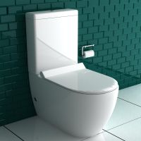 Alpenberger Stand-Dusch-WC + Spülkasten + GEBERIT Spülgarnitür + Abnehmbarer WC-Sitz mit Absenkautomatik | Komplett Set | Integrierter Taharet-Bidet Funktion | Ablauf Waagerecht und Senkrecht