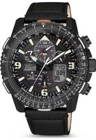 Citizen JY8085-14H Eco Drive Uhr Herrenuhr Leder Datum Alarm schwarz