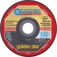 SONNENFLEX golden star Stahl Schruppscheibe Schleifscheibe VPE 10 Stück Größe:Ø 125 x 6.0 x 22.23 mm
