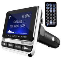 FM-Transmitter Bluetooth KFZ Wireless Radio Adapter, FM Transmitter Empfänger mit Mikrofon, Auto USB Ladegerät (5V/2,1A Ausgang), 3,5mm AUX-Eingang mit TF Karte Slot