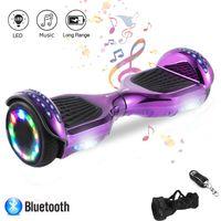 NewHover 6,5 Zoll Hoverboard Self Balance Board Elektro Skateboard Elektroroller, Smart Self- Balancing Scooter Räder mit Bluetooth LED-Licht, Motor 250W*2  Aufbewahrungstasche Fernbedienung Lila