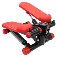 Stepper mit Display und 2 Power Ropes (verstellbaren Bewegungsumfang ) Mini Stepper Stepptrainer Hometrainer ROT