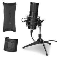 Navaris SM-01 Studio USB Kondensator Mikrofon - mit Popschutz Spinne Stativ - 25mm Kapsel - 20Hz-20kHz - Nierencharakteristik - Standmikrofon Schwarz