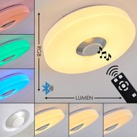 »Serini« runde Deckenlampe aus Metall/Kunststoff in Weiß, 18 Watt, 150-1160 Lumen, 3000 Kelvin, dimmbar mit RGB Farbwechsler, Fernbedienung und Bluetooth Lautsprecher