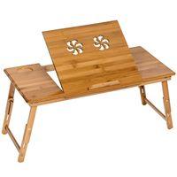 tectake Laptoptisch aus Holz, höhenverstellbar, 72x35x26cm - braun