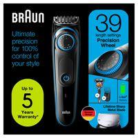 Braun BT5240 Barttrimmer und Haarschneider für Herren, 39 Längeneinstellungen, schwarz/blau