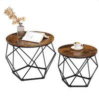 VASAGLE Beistelltisch 2er Set  robust Stahlrahmen für Wohnzimmer Schlafzimmer vintagebraun-schwarz LET040B01