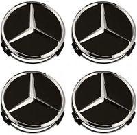 MB Felgendeckel Mercedes Benz 4 Stück 75mm Schwarz Ersatzteil Nabendeckel Radnabenkappen für Mercedes-Benz