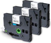TELANO® 3 Stück Kompatibel Schriftband als Ersatz für Brother TZe-231 TZ231  Schwarz auf Weiß Laminated Etikettenband 12mm x 8m für Brother P-Touch Etikettendrucker