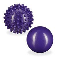 relaxdays 2 x Massageball lila Igelball Faszienball Noppenball Lacrosse Ball Massage hart