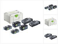 Festool SYS3 ENG 18V 2x5,2/TCL6 Energie Set 18 V + 2x Akku 5,2 Ah + 2x Akku 4,0 Ah + 2x Ladegerät + Systainer