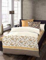 schlafgut Baumwolle Bettwäsche Blumen Streifen Beige Braun 135x200 cm + 80x80 cm