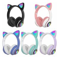 Katzenohr Kopfhörer Bluetooth drahtloser Stereo LED Licht Blinkt Karikatur süßes für Mädchen Weiblich Lila