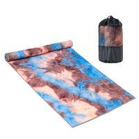 Rutschfestes Yoga-Handtuch (verbesserte PVC-Grippies + Seitentaschen) Mikrofaser-Schweißabsorbierendes und schnell trocknendes Mattenhandtuch