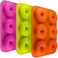 FG molds_3 3 Pack Silikon Donut Formen, 6 Hohlraum Antihaft-Safe Backblech Maker Pan Hitzebeständigkeit für Kuchen Keks Bagels Muffins-Orange, Rose Red, Grün