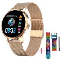 Smart Watch für Männer Frauen mit ganztägiger Herzfrequenz Blutdruck Schlafmonitor IP67 Wasserdicht Activity Tracker Kalorien Laufzähler Gold