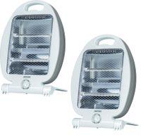 2er Set MPM Infrarot Quarz Heizstrahler, Elektrischer Infrarotheizstrahler Innen, Standheizgerät 400/800 Watt, Weiß