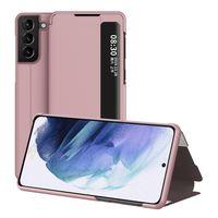 Samsung Galaxy S21 5G Hülle, LaimTop Klapphüllen mit Sichtfenster Smart View Leder Tasche mit Standfunktion Schutzhülle Roségold
