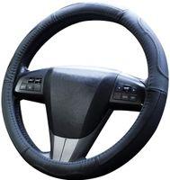 Auto Lenkradbezug Leder Optik | Upgrade4cars Lenkradhülle Universal 37-39 cm | Pkw Lenkradschoner in Schwarz | Kfz Lenkradschutz | Autozubehör