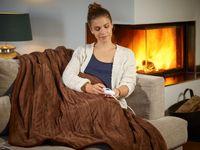 Heizdecke mit Abschaltautomatik 9 Heizstufen Wärmeunterbett 180x130 cm Wärmedecke Waschbar 40° Überhitzungsschutz