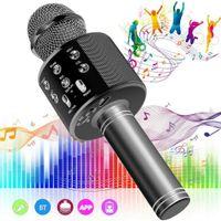 Melario Wireless Bluetooth Karaoke Mikrofon Lautsprecher Handheld Mic KTV Microphone Schwarz
