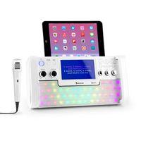 """auna DiscoFever LED Edition - Bluetooth-Karaokeanlage mit 7"""" TFT-Screen, Karaokemaschine, Aufnahmefunktion, CD-Player und USB-Port mit MP3-Unterstützung, Mikrofon und Karaoke-CD, weiß"""