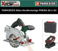 PARKSIDE PHKSA 20-Li A2 Akku-Handkreissäge  20 V Akku 2.0 Ah  + Ladegerät X 20 V Team