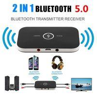 2 in 1 Upgrade B6 Bluetooth 5.0 Sender Empfänger Drahtloser Audio Adapter Für PC TV Kopfhörer Auto 3.5mm 3.5 AUX Musikempfänger Sender