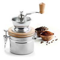 Kaffeemühle mit Keramikmahlwerk mit Auffangbehälter 500 ml aus Edelstahl & Holz