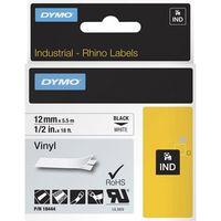 Datenkassetten-Etikett Dymo RhinoPRO 18444 - Permanent Kleber - 12 mm Breite - Rechteck - Thermotransfer - Weiß, Schwarz - Vinyl - 1 Each