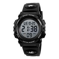 SKMEI Kinderuhr Armbanduhr Fashion Multifunction Waterproof Outdoor Sports Leuchtende Uhr fuer Kinder Studenten Jungen 1266 Schwarz