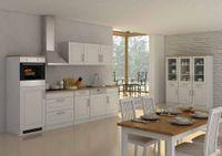 Küchenblock Rom 300 cm im Landhaus Stil weiß matt ohne Elektrogeräte