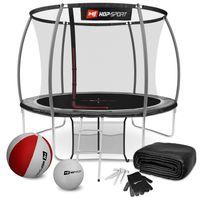 Hop-Sport Trampolin Outdoor - Ø 305 cm - Safety Gartentrampolin Set mit innovativen, gebogenen Netzstangen, Sicherheitsnetz, Leiter und vielen Extras – INTERTEK , schwarz-grau