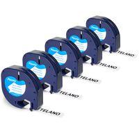 5x Telano 91201 kompatibel Etikettenband als Ersatz für Dymo Letratag Band für LT-100H LT-100T XR, Kunststoff Etiketten Schriftband S0721660 Schwarz auf Weiß 12mm x 4m - 91201