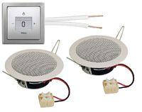 Busch Jäger Unterputz Bluetooth Radio 8217 U (8217U) PUR Edelstahl Komplett-Set + 2 x Deckenlautsprecher / Einbaulautsprecher + Radioeinheit inkl. Bedienelement + 1-fach Rahmen + 20 Meter Lautsprecherkabel 2x0,75 mm2 gratis