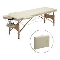 Mobile Massageliege klappbare Therapieliege tragbares Massagebett leichter Massagetisch 2 Zonen  Holzfüße - Beige - Meerveil
