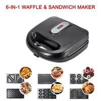 6-in-1 Waffel & Sandwich Maker Grill Neue Fruehstuecksmaschine Donut Cake Maker Sandwichmaker