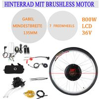"28"" 36V 800W LCD Elektrofahrrad Hinterrad Umbausatz Elektro-Fahrrad Kit E-Bike Conversion Kit PAS"