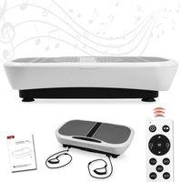 Profi Vibrationsplatte mit 3D Wipp-Vibration + Bluetooth Musik inkl. Lautsprecher, große Standfläche, 2 Kraftvolle Motoren + Expanderbänder und Fernbedienung - weiss