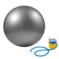 Gymnastikball 65cm inklusive Pumpe Sitzball für Fitness Yoga Pilates grau-silber