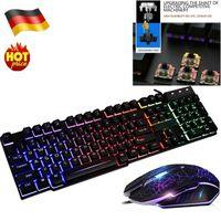 Beleuchtete Gaming Tastatur und Maus Combo Box Schwarz Schwimmendes Design Hohe Haltbarkeit, lange Lebensdauer