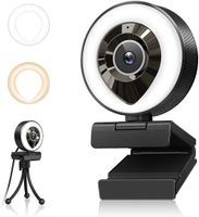 1080P Webcam mit Mikrofon, Full HD Facecam Live-Streaming Webcams mit Ringlicht, Stativ, 360° Schwenkradius , USB Kamera für PC, Videochat-Aufnahme, Mac, Laptop, Zoom, Skype (Weiß/Warmes Licht)
