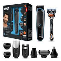 Braun 9-in-1 Multi-Grooming-Kit MGK3085, Barttrimmer und Haarschneider, Schwarz/Blau