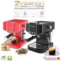 Siebträger Kaffeemaschine mit Milchschäumer, Espressomaschine, Cappuccino Latte Rot